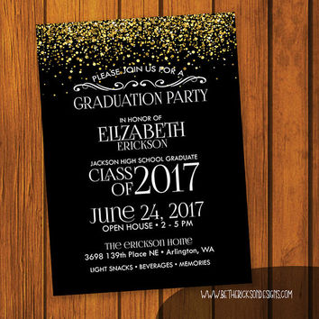 Graduation Party Invitation / Gold Glitter Graduation Party Invitation / Open House Invitation / High school / College / Party Invitation