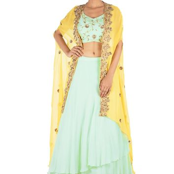 Hand Embroidered Sea Green And Mustard Yellow Kaftan Jacket Lehenga Set