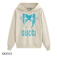 GUCCI fashion hit print monogram hoodie casual cotton hoodie Apricot