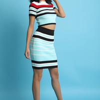 Striped Ribbed Knit Crop Top With Midi Skirt Set | UrbanOG
