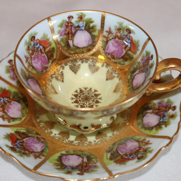 Vintage Teacup Demitasse NC Germany Fragonard Love Story Demitasse German Bavarian Teacup - Courting Couples Bridal Tea Party Gift