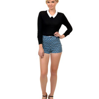 Blue & White Polka Dot High Waist Grape Cotton Shorts