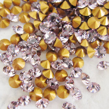 Swarovski Rhinestones Crystals Chaton 20pp SS9 PP 20 Light Amethyst Purple Round Point Back 2.6 mm Wholesale Lot 10 Jewelry Supplies