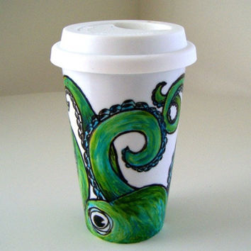 Octopus Ceramic Travel Mug Painted Green Eco Friendly by sewZinski