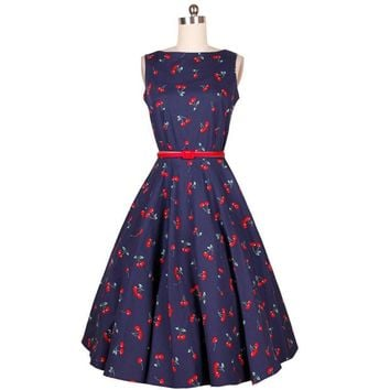Cherry Floral Print Summer Dress Women Casual Audrey Hepburn Party Dress Retro Vintage Dresses Temperament Vestidos #A62022
