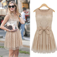 Free Shipping - Lace Bowtie Dress