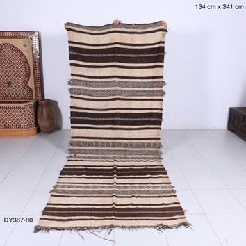 Long handwoven kilim, 4.3ft x 11.1ft, Berber blanket, Vintage blanket, All wool rug, long rug,