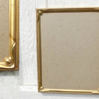 Vintage Gold Art Deco 8 x 10 Metal Picture Frame with Embossed Corners Velvet Back