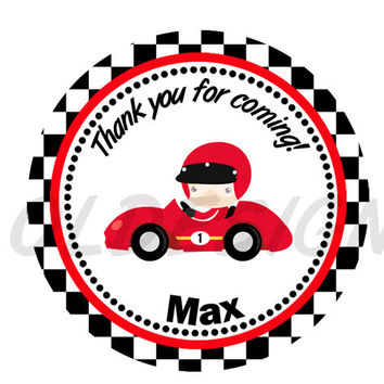 Race Car sticker, Cupcake Topper, Tags, Digital file. Great for birthdays