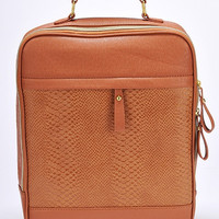 Brown Faux Leather Box Shape Backpack