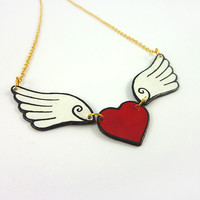 Recycled CD necklace : Winged red heart - by Savousepate