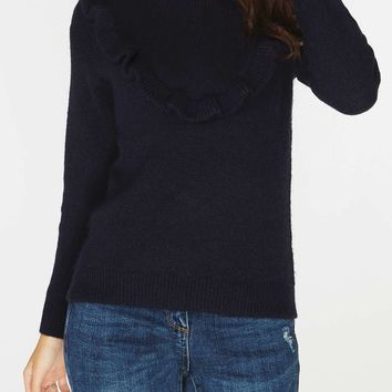 Navy Ruffle Yoke Jumper | Dorothyperkins
