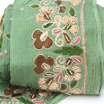 Silk Chiffon Vintage Sari Trim Sage Green Sari Border WIth Hand Embroidery And Gold Zari Stitching For Nuno or Costume Design 1yard