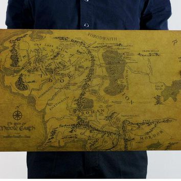 The Lord of The Rings Vintage Middle Earth Map On Poster Home Decor Wall Sticker 51x35cm Retro Kraft Paper