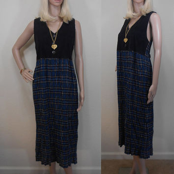 80s, Positive Attitude, Made in USA, Maxi, Grunge, Punk, Button Up, Corduroy Front, Plaid Body, Jumper Dress, Fall Colors, Size 8