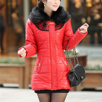 Women : Korean Hooded cotton fur coat ghl2740