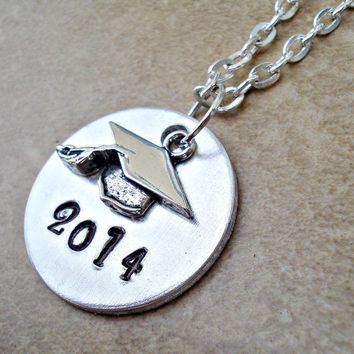 Class of 2014 Graduation Cap Hand Stamped Necklace - Graduation Gift - Class of 2014