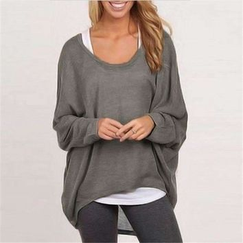2018 Spring Autumn Women Blouse New Fashion Batwing Long Sleeve Casual Loose Solid Color Shirt Plus Size Sexy Tops Blusas