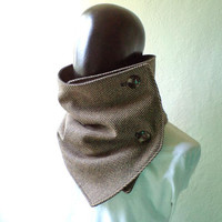 Men scarf. Men cowl,  Extra Wide, Herringbone wool 100% with buttons. Trendy, modern, chunky  and cozy. READY TO SHIP.