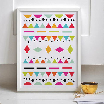 Kids Print, Aztec Pattern, Kids Wall Art, Geometric Wall Art, Playroom Decor, Girls Nursery Print, Boys Room Decor, Colorful Print.
