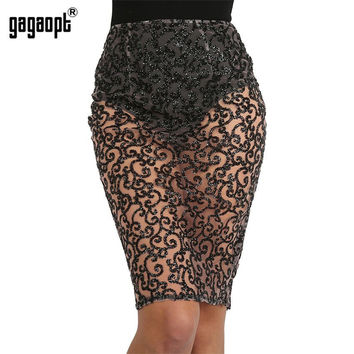 Gagaopt Sexy Autumn Bright Drill Perspective Pencil Skirt Women Midi Skirt Bling Sequin High Waist Slim Women Long Skirts Saias