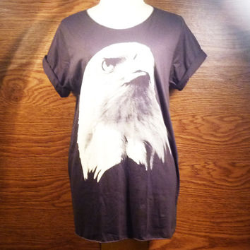 Unisex Rock Shortsleeve Black T Shirt Eagle USA Tee Men Tee Women Big Shirt Sleeve Teen Clothing Size S M