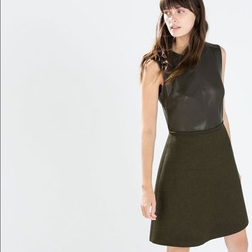 Zara Basic Leather and Wool dress