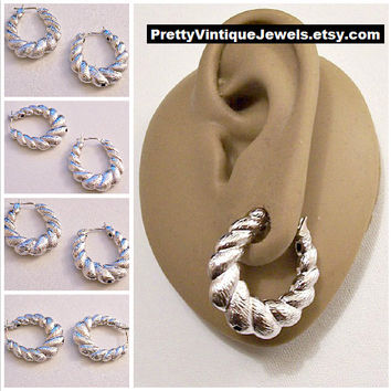 Monet Shrimp Lined Hoop Pierced Stud Earrings Silver Tone Vintage Puffed Swirl Lined Sectioned Oval Open Dangles Surgical Steel Posts