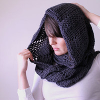 The Chevron Cowl in Charcoal Grey