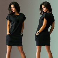 New fashion 2016 Summer Women Dress short Sleeve Casual Loose plus size Dresses for Women summer Dress Mini Dress With Pockets