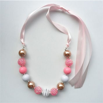 2pcs/lot beautiful design kids chunky beads necklace baby girl bubblegum beaded necklace for children 2015 factory direct