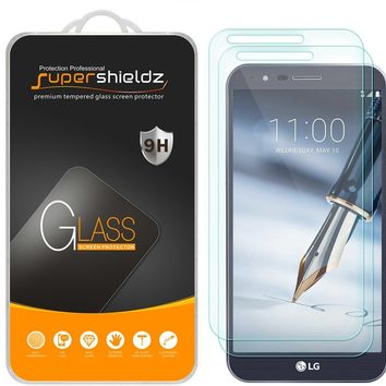 "[2-Pack] Supershieldz for LG ""Stylo 3 Plus"" Tempered Glass Screen Protector, Anti-Scratch, Anti-Fingerprint, Bubble Free, Lifetime Replacement Warranty"
