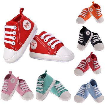 Newborn Baby Shoes Unisex Kids Classic Sports Sneakers Toddler Soft Bottom Anti-slip T-tied Canvas Shoes for Boys Girls