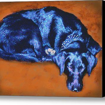 Sleeping Blue Dog Labrador Retriever Canvas Print