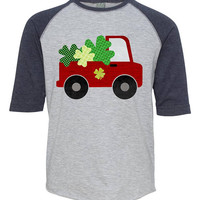 Kids Truck Shamrock Shirt, Toddler St Patricks Day Shirt, St Patricks Day Outfit for Boys, Youth Irish Celtic Shirt, Shamrock Tshirt Girls