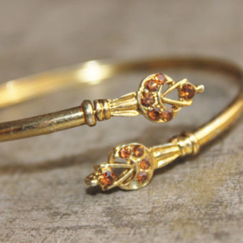 POP Vintage Gold Plate Bangle-Delicate Wrap- Adjustable -Amber Rhinestones