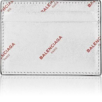 metallic silver leather logo card case by balenciaga 2