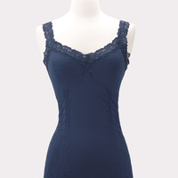 Corset Cami with Lace in Ink Blue