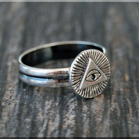 All Seeing Eye Ring, Sterling Silver stacking ring, Evil Eye ring, Rustic ring, Masonic Ring, Silver ring, All Seeing Eye jewelry