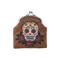 Day of the Dead Rose & Sugar Skull Embroidered Coin Purse