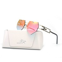 MINCL/Womens Designer Cute Rimless Love Heart Shaped Sunglasses