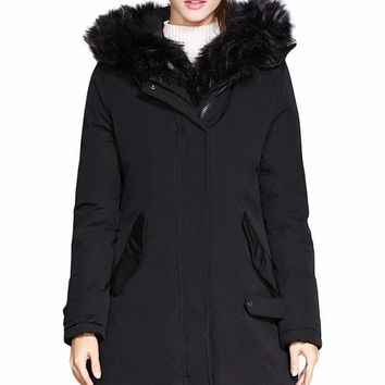 Fur Trim Hooded Black Parka Storm Coat