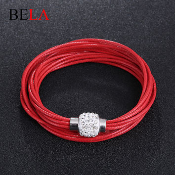 2015 Multilayer Braided Strench Bracelets Vintage Woman Jewelry Bracelet Multicolor Woven Leather Bracelet&Bangle WS4103