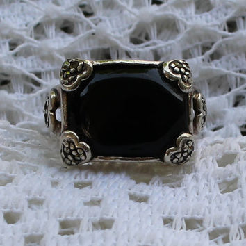 Vintage Onyx and Marcasite Sterling Silver Statement Ring With Heart Details