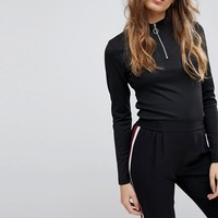 JDY High Neck Zip Top at asos.com