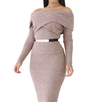 Heather Brown Foldover Shoulder Long Sleeve Skirt Set