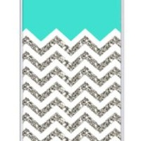 iZERCASE Chevron Pattern Turquoise Grey White Mixed RUBBER iphone 5, iPhone 5S case (NOT ACTUAL GLITTER) - Fits iphone 5, iPhone 5S T-Mobile, AT&T, Sprint, Verizon and International