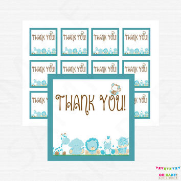 Blue Safari Baby Shower Favor Tags, Jungle Baby Shower Favors, Gift Tags, Thank You Favor Tag Baby Shower, Safari Baby Shower Decor BS0001-B