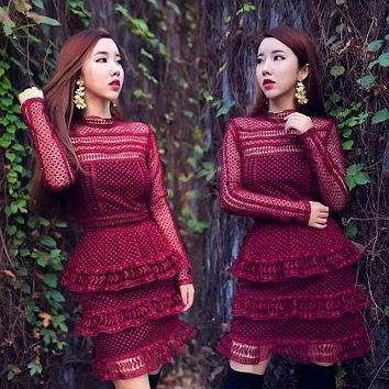 High-end custom self red lace long sleeve sexy women mini Dress 2017 fashion runway style dress winter casual dress