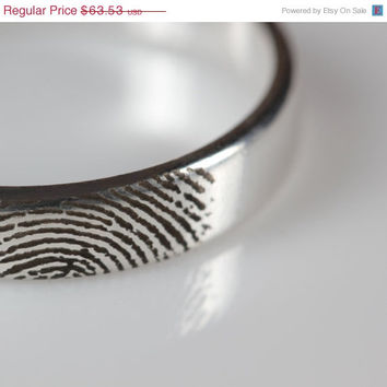 Finger Print Sterling Silver Ring, Custom, Wedding, Personalized, Engraved, Promise Ring, Valentines day, Anniversary